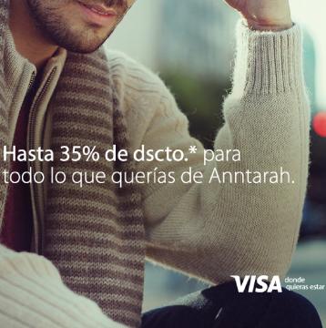 Disfruta de lunes a jueves entre las 6:00pm y la hora de cierre de la tienda del 20% de descuento en sweaters y cardigans de hombre pagando con Visa en Anntarah.